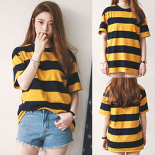 UK Womens Bee Striped O Neck Baggy Blouse Ladies Casual Loose Tops T-shirt M-2XL