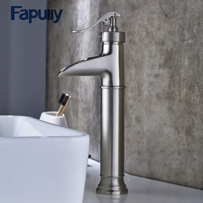 Fapully Basin Faucet Water Tap Bathroom Faucet Brushed Nickel Single Lever Waterfall Faucet Cold Hot Sink Tap Mixers led color changing brushed nickle basin faucet hot and cold water faucet waterfall spout dual handle tap