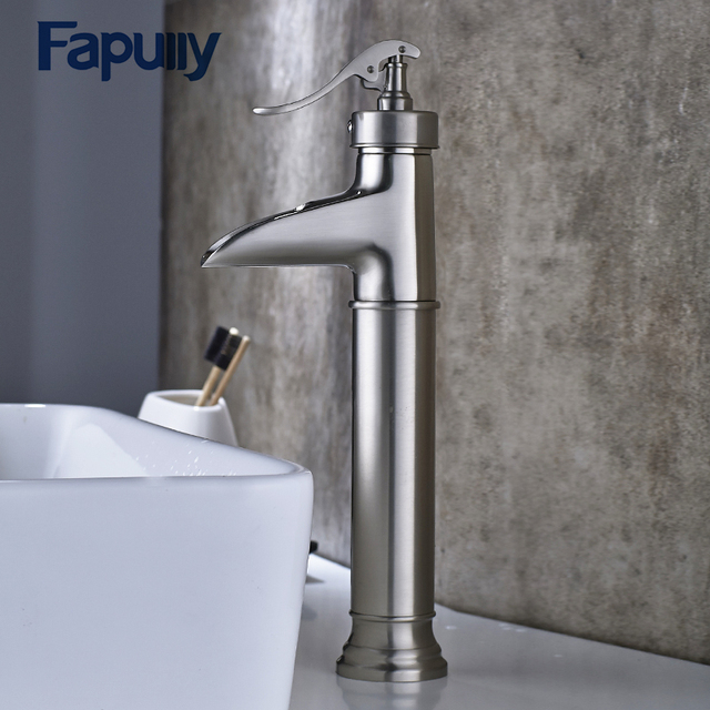 Fapully Basin Faucet Water Tap Bathroom Faucet Brushed Nickel Single Lever  Waterfall Faucet Cold Hot Sink