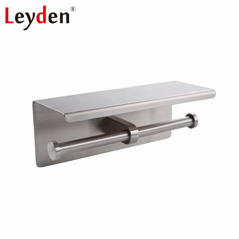 Toilet Holder Nickel Stainless Brushed Steel Bathroom Paper Accessory Double Leyden  Phone Wall Mobile with Shelf Mounted 1
