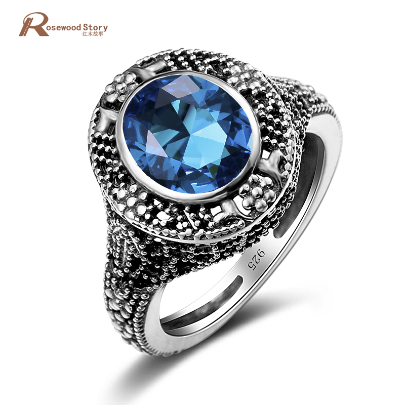Victoria Wieck Ring Handmade Solitaire Moonlight Blue Stone Austrian Crystals 925 Sterling Silver Jewelry for Women Wedding Ring