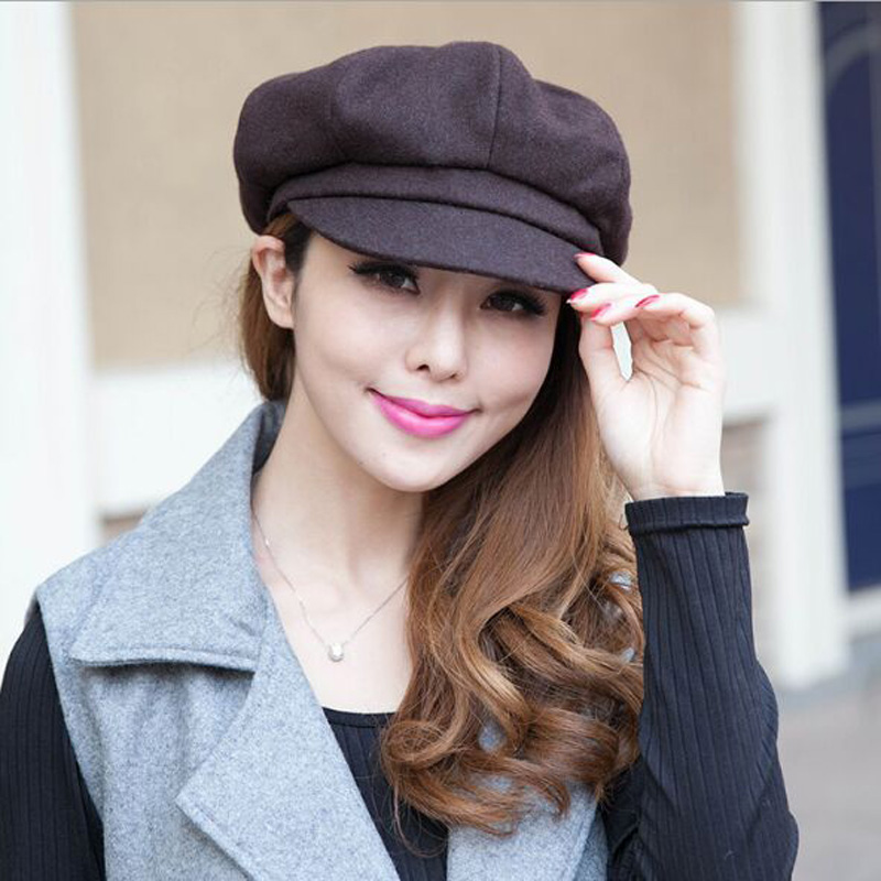 2017 Fashion Solid Beret Cap For Women Warm Outdoor Winter Flat Berets in Women's Hat  Bare Chapeu Feminino Boina HT51165+10