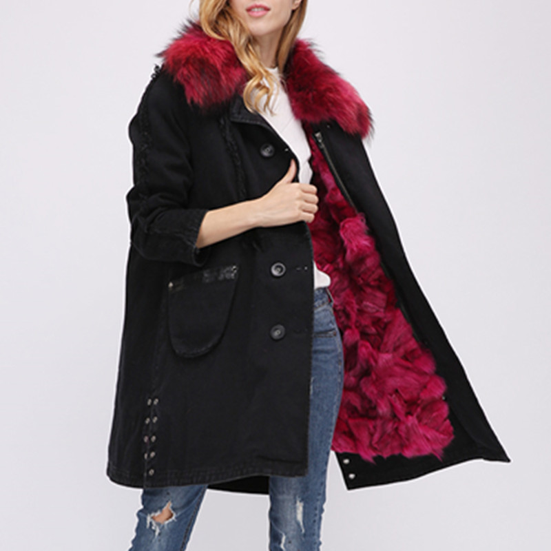 AiyangSilan Women Clothes parka winter jacket coat women real fur coat parkas natural raccoon fur collar  Lady Warm Outwear 2017 winter new clothes to overcome the coat of women in the long reed rabbit hair fur fur coat fox raccoon fur collar