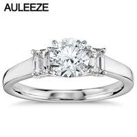 Classic Three Stone Engagement Ring Lab Grown Diamond 1 Carat Moissanites 14K White Gold Rings For Women Wedding Fine Jewelry