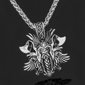 Viking Odin Face with Axe Amulet Nordic Pendant Necklace With Gift Bag  Viking Necklace