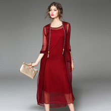 2017 Summer New Women's Relaxed Temperament Pure Silk Stitching Dress Of Three Pieces