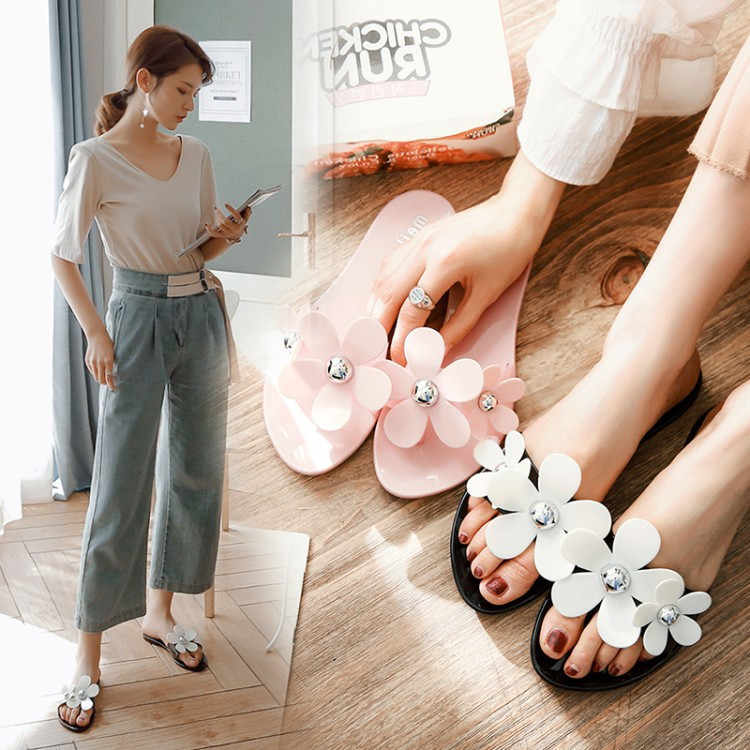 91ad87a1c PXELENA/цветок силиконовая обувь для девочек Пляжные сланцы милые плоские  мягкие Летние тапочки женская обувь