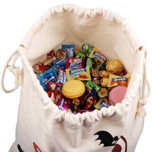 Image 4 - OurWarm 17x14 אינץ ליל כל הקדושים טריק או שקיות פינוק ילדים לשימוש חוזר בד שרוך Tote תיק שק מתנת ליל כל הקדושים מסיבה דקורטיבית