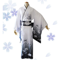 Vintage Japanese Women Long Robe Traditional Kimono Geisha Yukata With Obi Floral Elegant Lady Evening Dress Cosplay Costume