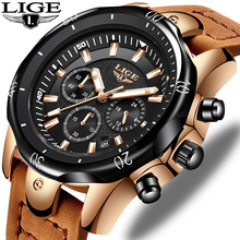 LIGE New Mens Watches Top Brand Luxury Military Sport Watch Men Leather Waterpro