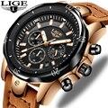LIGE мужские часы  лучший бренд  Роскошные военные спортивные часы  мужские кожаные водонепроницаемые часы  кварцевые наручные часы  мужские ...