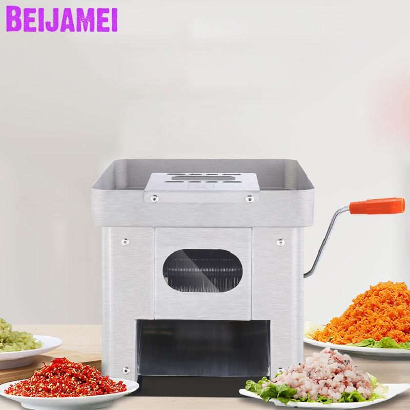 BEIJAMEI 120KG/H Electric Meat Grinder Meat Cutter Commercial Meat Slicer Meat Slicing Machine For Restaurant