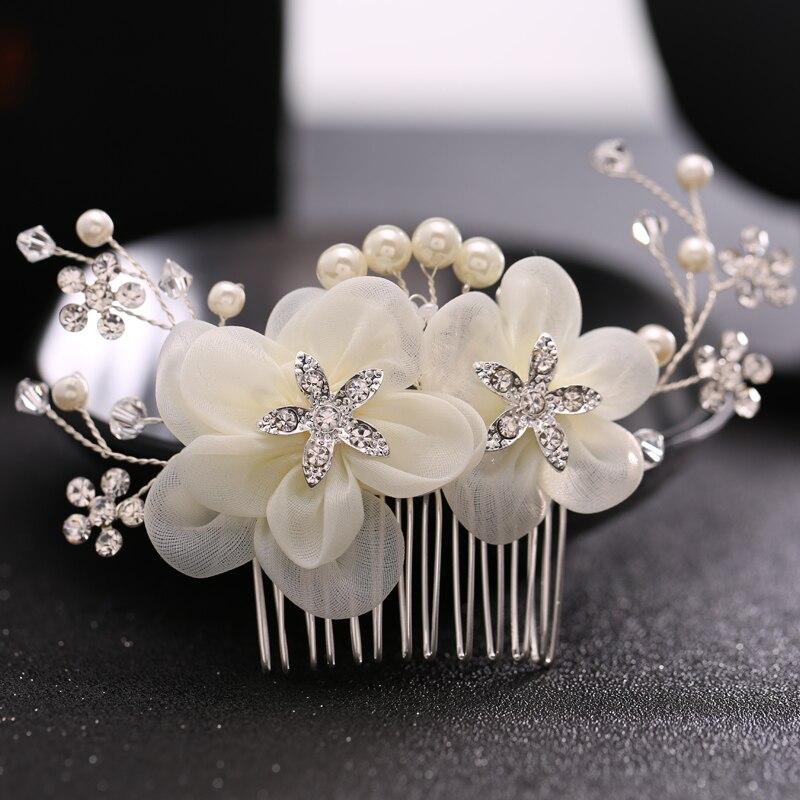 Prix pour Cheveux de Mariée de luxe Accessoires De Cheveux De Mariage Peigne Argent-ton Strass Fleur Artificielle Cheveux Peigne De Mariage Casque