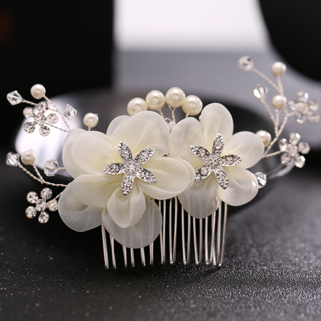 Tuanming Luxury Bridal Wedding Hair Accessories Pearl Comb Silver Rhinestone Flower Clips Women Jewelry