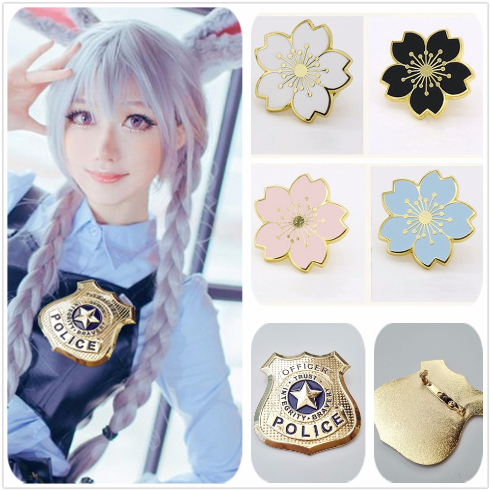 Zootopia Rabbit Judy Hopps Police Brooch 7CM Cosplay Accessories Decorations Christmas Cute 18MM Cherry Blossom Uniform Badges