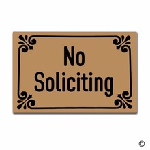Funny Printed Doormat Entrance Floor Mat No Soliciting Non-slip 23.6 by 15.7 Inch Machine Washable Non-woven Fabric