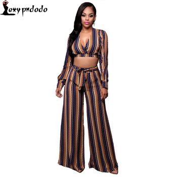 2 Piece Set Women Autumn Long Sleeve Elegant Woman Sexy V Neck Party Jumpsuits Rompers Long Pants casual conjunto feminino mujer