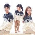 2017 Nova Primavera Estrelas Bordados patchwork design T-shirt do estilo Listrado Família Família Combinando Roupas hoodies