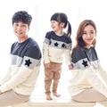2017 Nueva Primavera Estrellas Bordado patchwork diseño Familia estilo Camiseta de Rayas sudaderas Trajes A Juego de la Familia