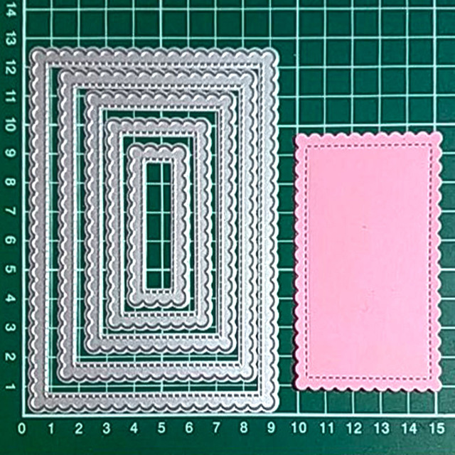Stitched Rectangle Scallop frame metal cutting dies Scrapbooking Steel Craft Dies cuts Embossing paper art card make Stencil