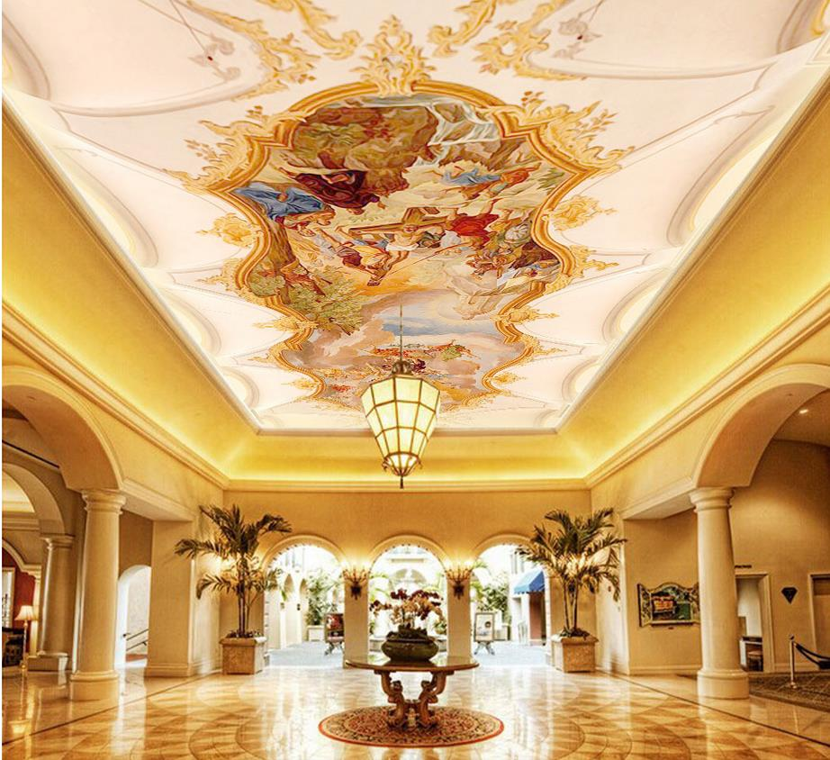 Royal myth mural painting ceiling dome 3d wallpaper modern for Top rated ceiling paint