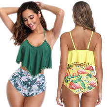High Waist Bikini Sexy Ruffle Top Swimwear Women Yellow Swimsuit or Green Swim Suit Cute Wire Free Bathing