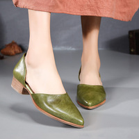 Tyawkiho Genuine Leather Women Pumps Pointed Toe 2018 Summer Green Pumps Slip On Shoes Fashion Handmade