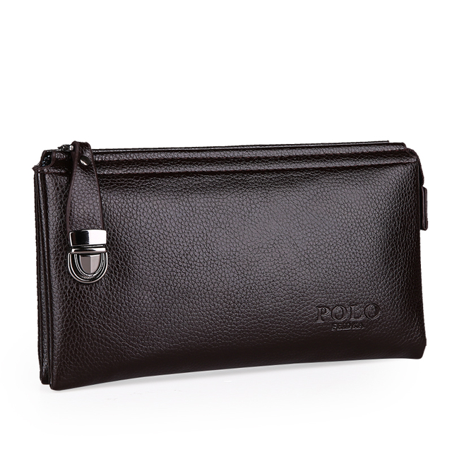 FEIDKA POLO Commercial Men Genuine Leather Wallet Europe Classic Simple Long  Clutch Purse Black Brown d2c0845e8532f