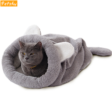 Petshy Cute Cat Dog Sleeping Bag Nest Warm Soft Pet House Small Animals Puppy Cushion Rabbit Bed Funny Products M/L