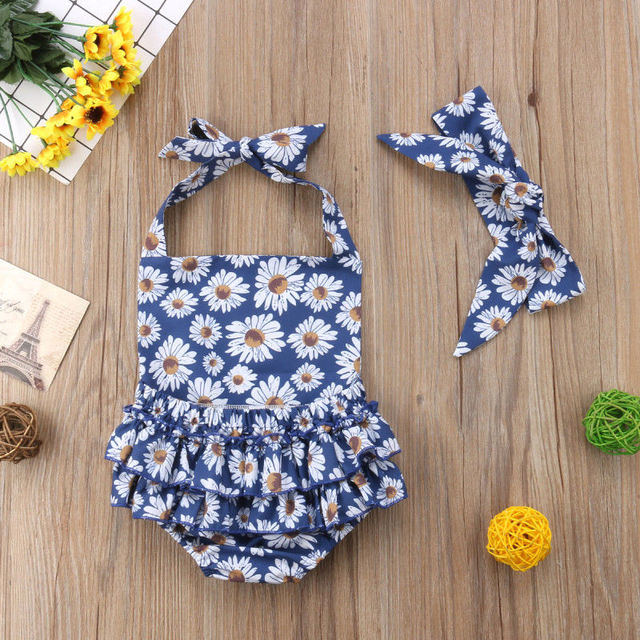 2018 Brand New 0-24M Summer Infant Baby Girls Clothes 2PCS Sunflowers Daisy Print Back Belt Vest Tops+Shorts Or Romper+Headband
