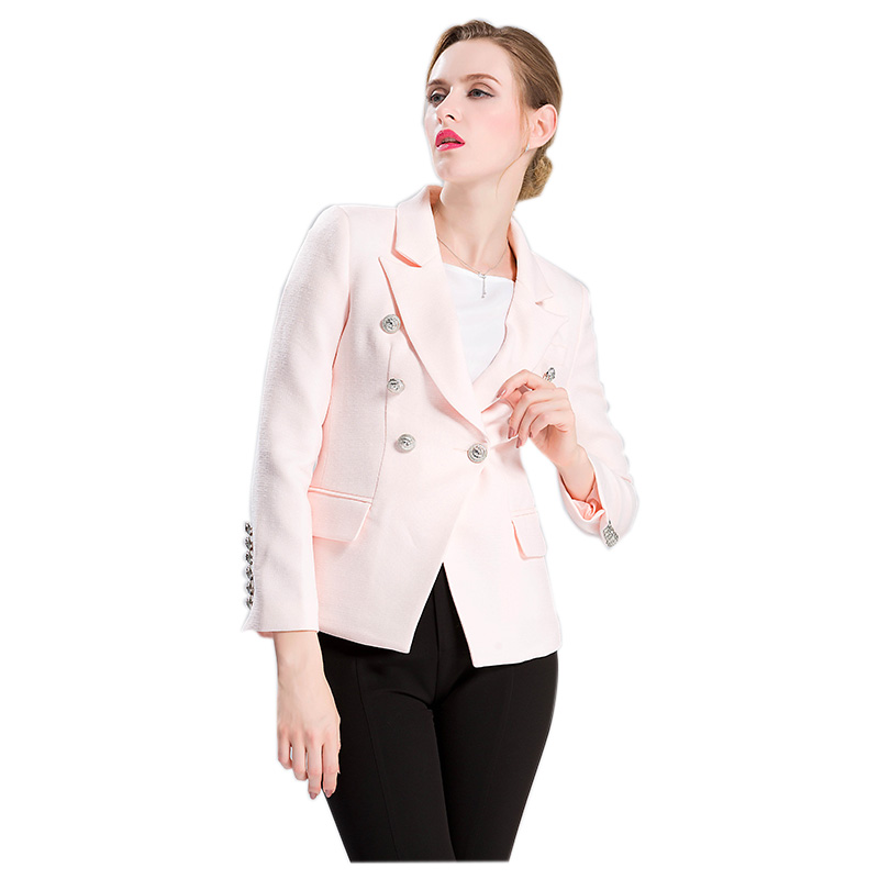 2017 New Fashion HIGH QUALITY Runway Style Womens Slim Jacket Solid Color Gold Buttons Double Breated Workwear Blazer Tops