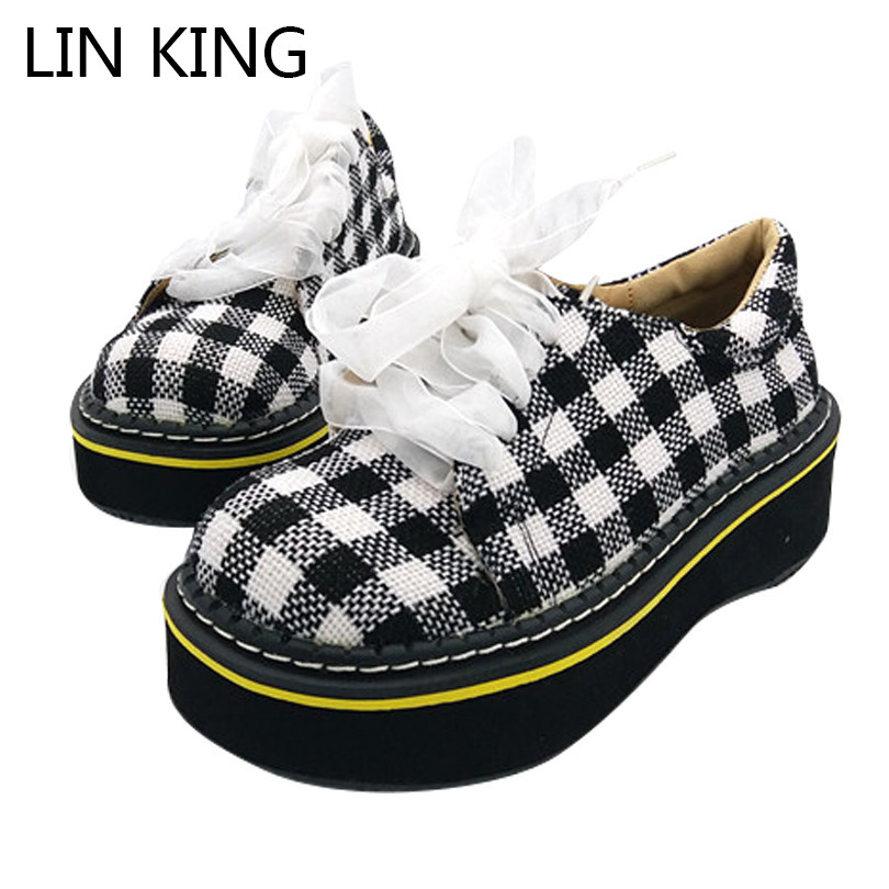 LIN KING Spring Autumn Women Wedges Pumps Lace Up Ankle Platform Shoes Thick Sole Height Increase Lady Mary Janes Lolita Shoes lin king thick sole women sandals retro rome gladiator sandals students thick sole platform shoes lace up summer beach shoes