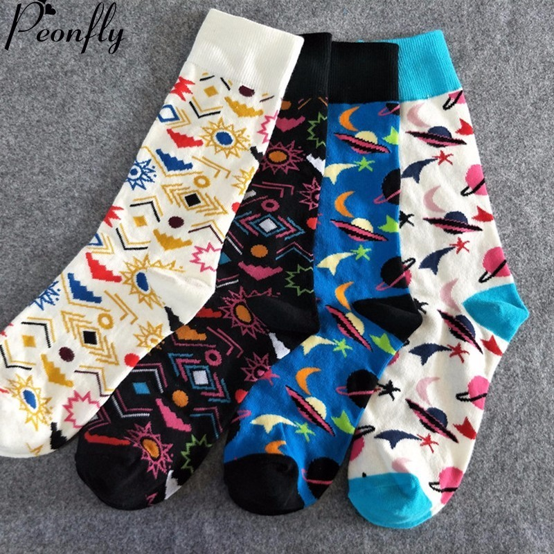 PEONFLY Women Men Crew Socks Happy Socks Universal Symbol series Pattern Novelty Funny Socks Breathable Comfortable 4pairs/lot