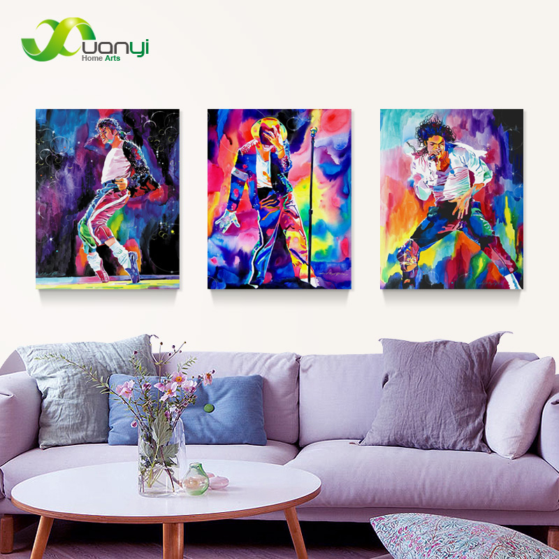 3 panel oil painting picture canvas painting famous star michael jackson home decaration printing on canvas no frame pr913