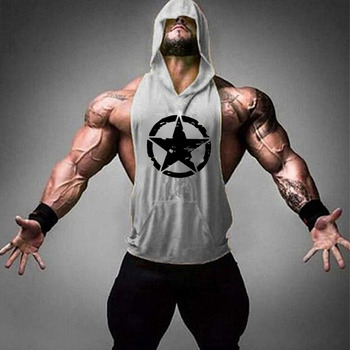 Brand Gym Clothing Fitness Men Cotton Tanktop with hooded Mens Bodybuilding Stringers Tank Tops workout Singlet Sleeveless Shirt 15