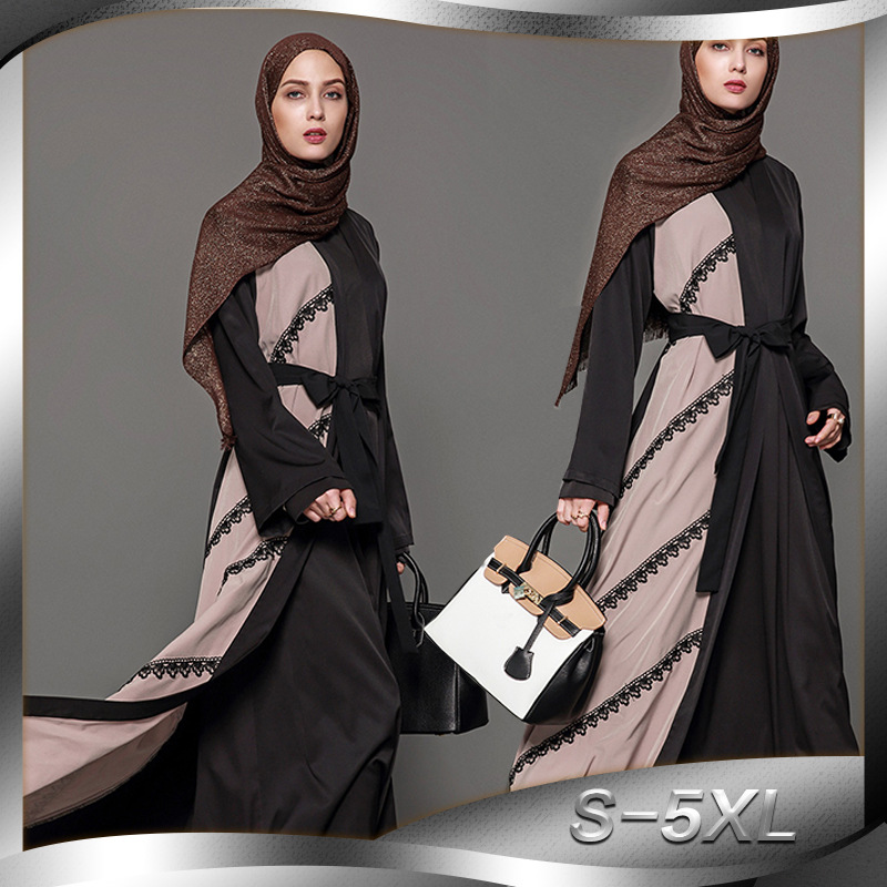 Fashion Women Muslim Dress Patchwork Lace Turkish Dubai Islamic Dress Plus Size 5XL Caftan Marocaine Robe Abaya with Sash Платье