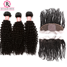 13X4 Silk Base Kinky Curly Lace Frontal Closure With Bundles 3 Brazilian Human Hair Weave Bundles Rosa Queen Hair Products Remy