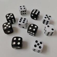Новые 5 шт переносные игральные кубики Набор 16 мм черный белый круглый кости 6 сторон кубики Игральный стол игры вечерние Семейные игральные кости для распития