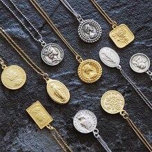 Ожерелье с монетами, серебро 925, чокер-колье, Золотая подвеска, шарм, минимализм, Ретро стиль, Boho Bijoux Femme, колье, ожерелье для женщин, ювелирное изделие