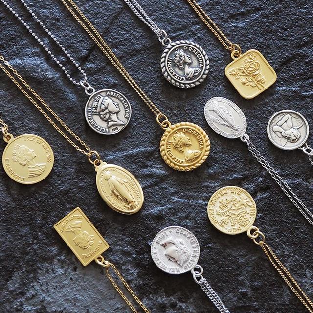 Đồng tiền Cổ Bạc 925 Choker Kolye Vàng Mặt Dây Chuyền Charm Sự Tối Giản Vintage Boho BIJOUX Femme Collier Vòng Cổ Nữ Trang Sức