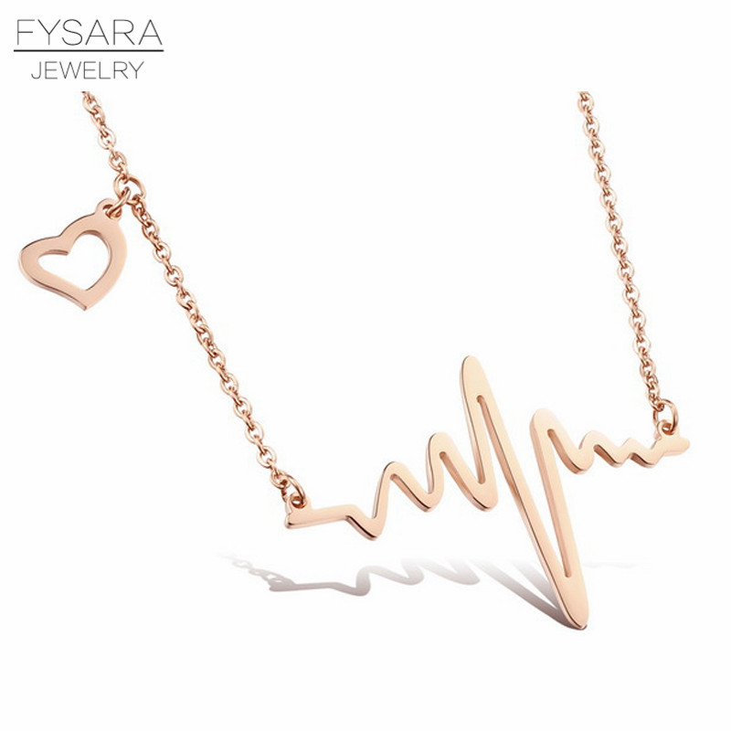 FYSARA Stainless Steel Rose Gold Color Necklace Electrocardiogram Short Necklace for Women Love Heart Pendant Necklace