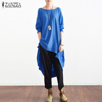 Top Fashion 2018 ZANZEA Women Elegant High Low Hem Baggy Blouse Autumn Round Neck Long Sleeve