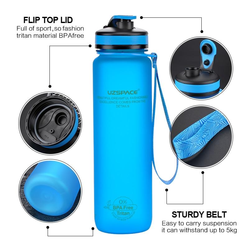 Portable Outdoor Sports Water Bottle Leak Proof Travel Hiking Plastic Bottle