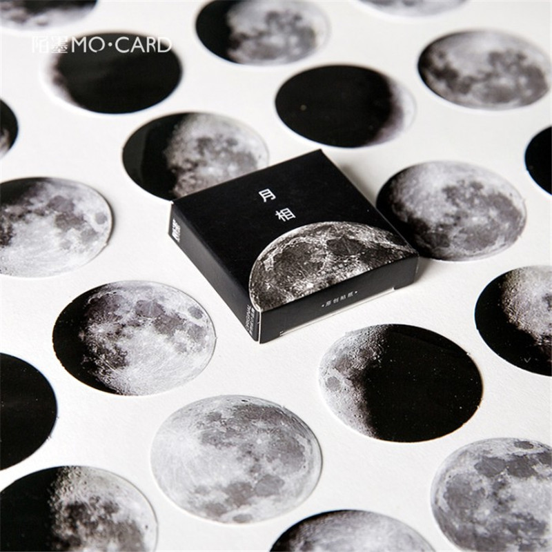 45Pcs/box Creative Moon phase Stickers Flakes Vintage Romantic For Diary Decoration Diy Scrapbooking Stationery Sticker 45pcs box cute animal crystal ball mini paper decoration stickers diy diary scrapbooking seal sticker stationery school supplies