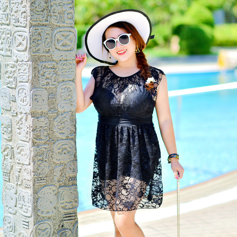 2017 new arrived  Plus Size One-pieces Dress One Piece Swimwear Women Dress Hot Spring Swimsuit Bathing Suit Plus Size 7XL the one plus one