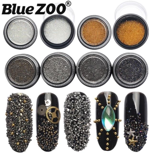 Charms 3D Nail Art Decorations Stud Glitter Gold Silver Caviar Micro