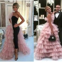 Różowy i czarny arabia arabski kostki długość suknie wieczorowe z wielowarstwowa 2019 dubaj projekt islamski Ruffles suknia wieczorowa Party kaftany