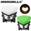 Ironwalls White/Green Motorcycle Halogen Headlight Fairing Kit Durable ABS Plastic Shell For Kawasaki Honda Suzuki Yamaha