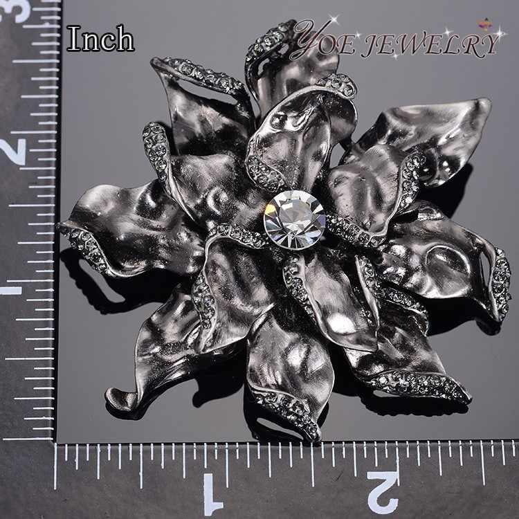 Iyoe Grosir Antik Warna Emas Besar Bunga Pin dan Bros Gaya Vintage Wanita Fashion Kristal Bros Aksesoris