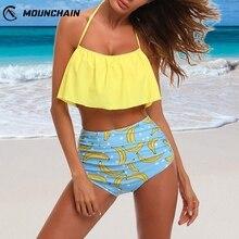 цена на Women Sexy Bikini Printed Swimsuit Set Brassiere & High Waist Shorts Seductive Lingerie Bathing Suit Beach Wear